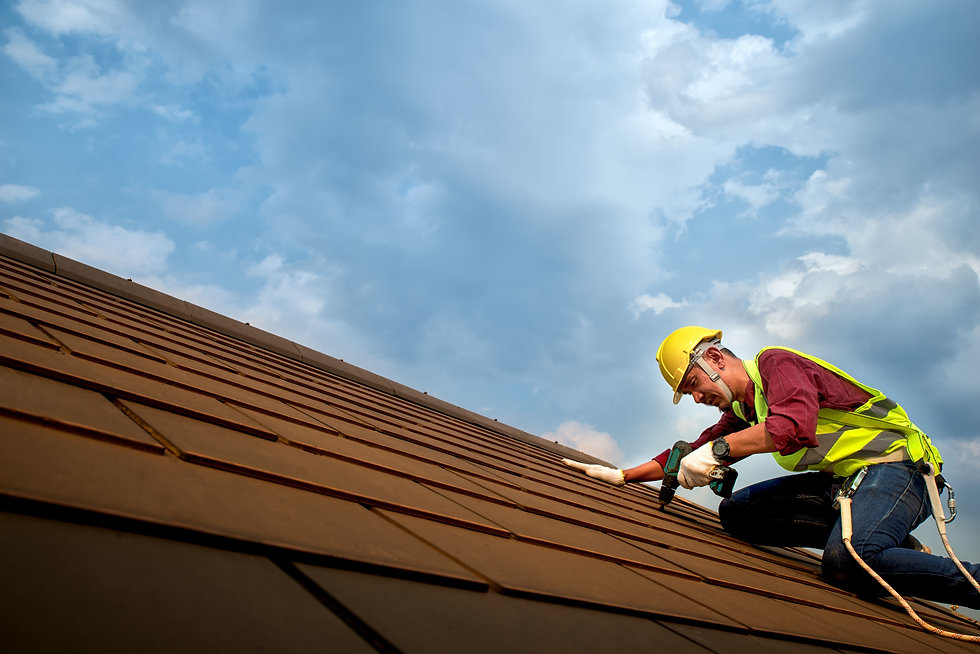 Skilled roof technician worker working R