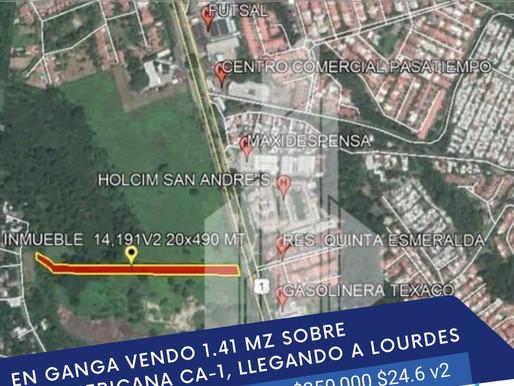 """EN SUPER GANGA 1.41 MZ FRENTE  HOLCIM """"SAN ANDRÉS"""",  SOBRE PANAMERICANA CA-1"""