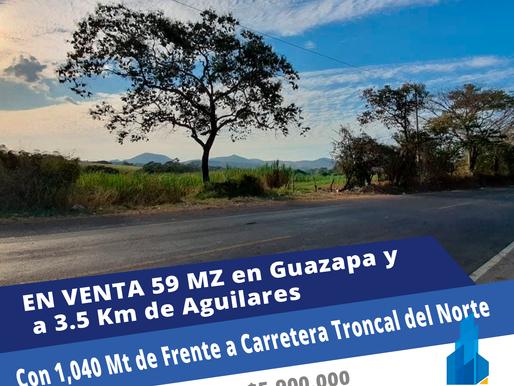 EN VENTA 59 MZ EN GUAZAPA, SOBRECARRETERA TRONCAL DEL NORTE CON 1,040 MT DE FRENTE