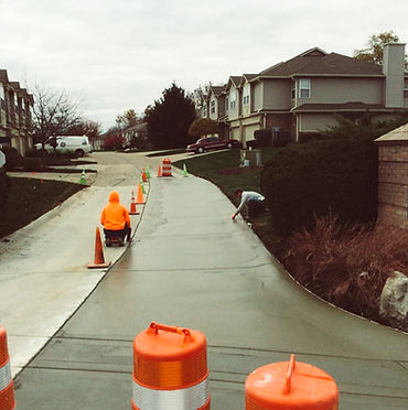 Sidewalk work in Central Indiana