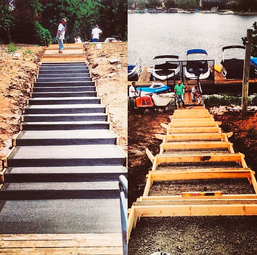 Beautiful and sturdy concrete steps down to lake dock in Indianapolis
