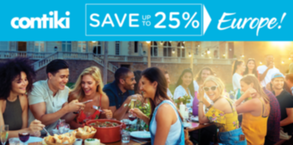 Contiki Europe save 25% no HLO discount