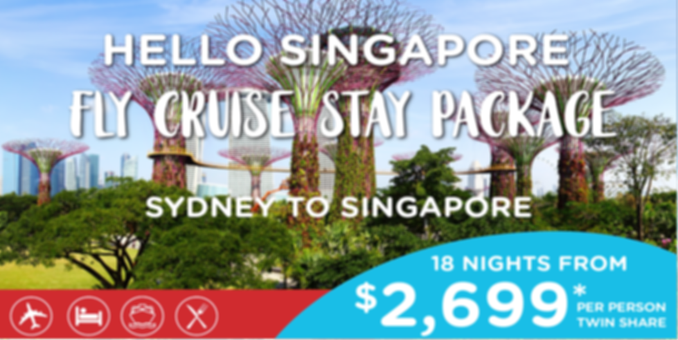 RCI Fly-Cruise-Stay Syd to Sin Package W