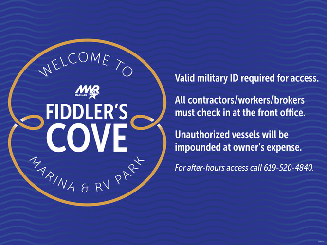 Fiddler's Cove Dock Gate Sign