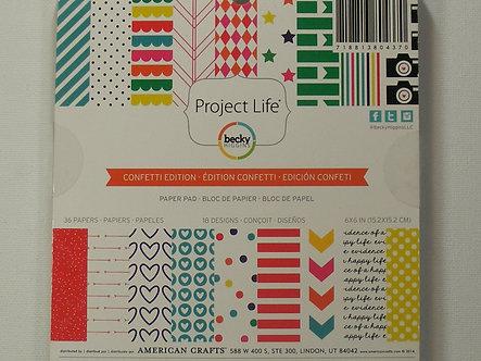 "American Crafts - Project Life - Confetti Edition 6"" x 6"" Paper Pad."