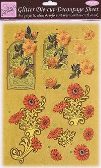Anita's Glitter Die-Cut Decoupage - Floral 4.
