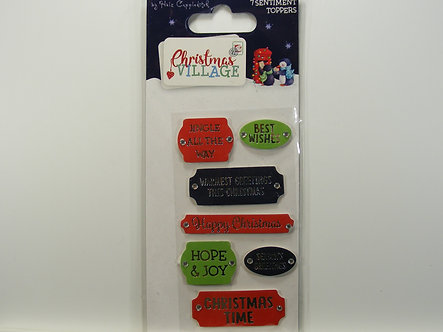 Helz Cuppleditch - Christmas Village Sentiment Toppers