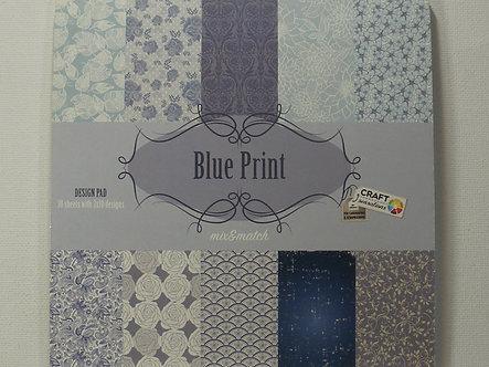 "Craft Sensations - Blue Print 6"" x 6"" Paper Pad."