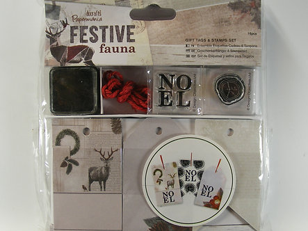 Docrafts - Festive Fauna Gift Tags & Stamp Set.