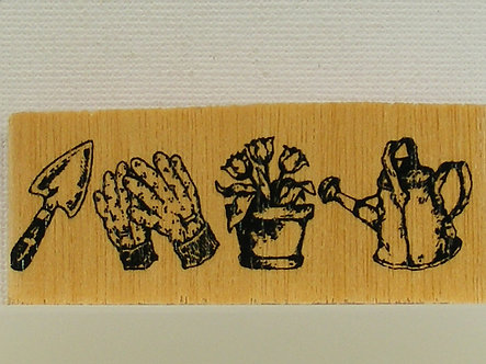 Unbranded - Gardening Tools Wood & Foam Mounted Rubber Stamp