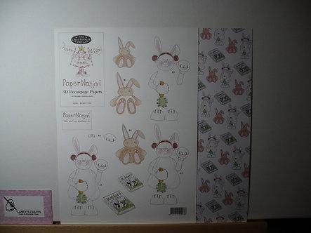 Paper Nation - Rabbit Girl 3D Decoupage.