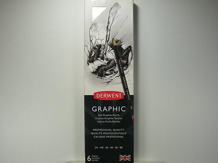 Derwent - Graphic Sketching Pencils, Tin & Sharpener.