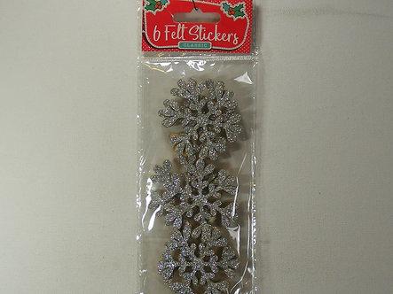 Merry Christmas - Silver Glitter Snowflakes Felt Stickers