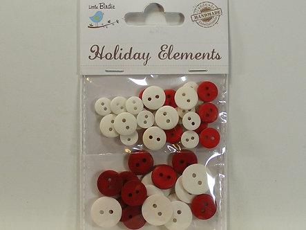 Little Birdie - Red & White Buttons.