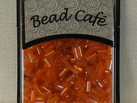 Bead Cafe - Orange 6mm Glass Bugle Beads.