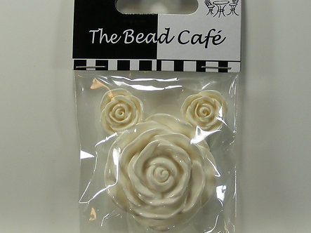 Bead Cafe - White Resin Flowers