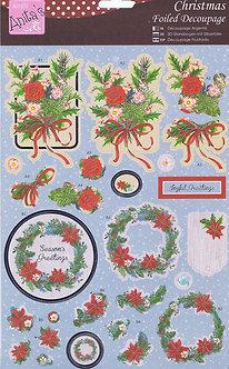 Anita's - Christmas Foiled Decoupage - Seasonal Wreath.