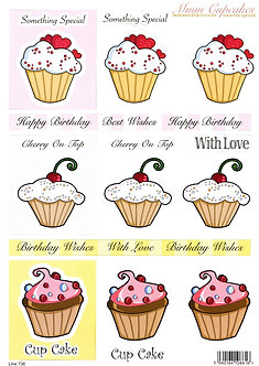 Craft UK - Mmm Cupcakes Decoupage Sheet