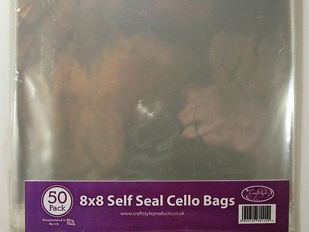 """Craftstyle - 8"""" x 8"""" Self Seal Cello Bags x 50"""