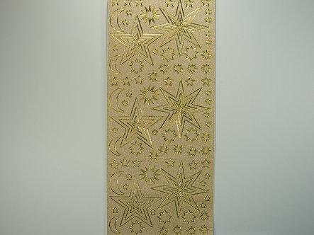 Christmas Glitter Peel Offs - Stars & Moons (Gold)