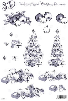 Craft UK - Silver Christmas Decoupage Bauble & Trees