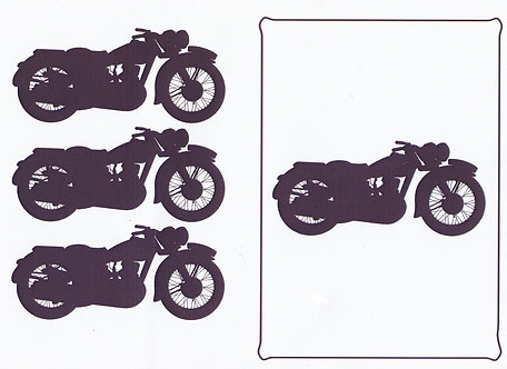 A5 Monochrome Decoupage Sheet - Classic Motorcycle