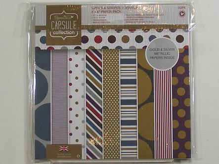 "Docrafts -  Capsule Spots & Stripes Jewels 6"" x 6"" Paper Pack."