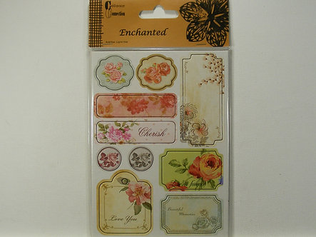 Craftime -  Enchanted Chipboard Stickers, Flora.