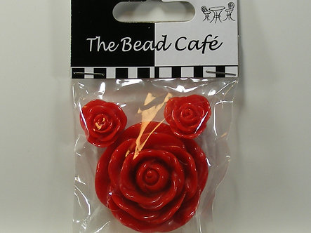 Bead Cafe - Red Resin Flowers