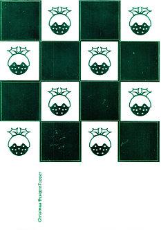 Christmas Designa Topper - Green Metallic Foiled Christmas Pudding Topper Sheet