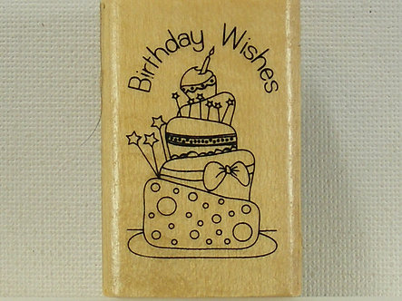Anita's - Birthday Wishes Wood Mounted Rubber Stamp