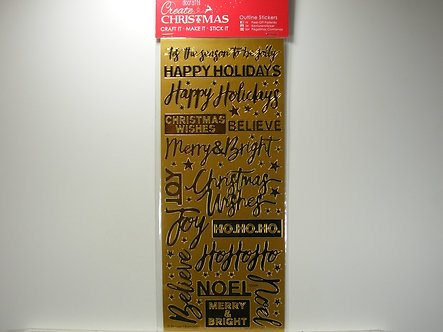 Docrafts - Create Christmas Outline Stickers - Xmas Sentiments Gold