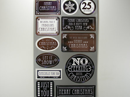 Christmas Decorative Stickers x 12