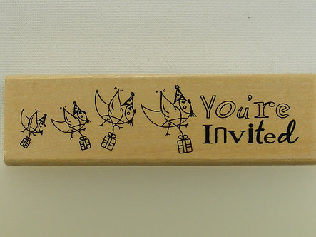Anita's - You're Invited Wood Mounted Rubber Stamp