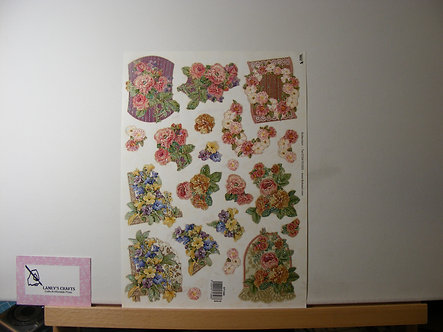 TBZ International - Floral Glitter Decoupage Sheet.