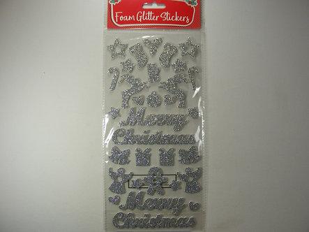 Merry Christmas - Silver Glitter Foamy Stickers.