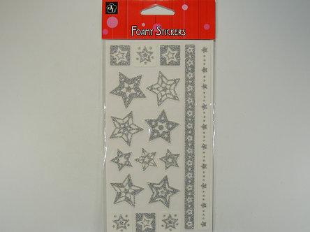 JT - Silver Foamy Star Stickers Set 1
