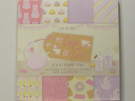 """Love To Craft - My Cup Of Tea 6"""" x 6"""" Paper Pad."""