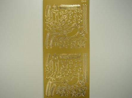 Christmas Peel Offs - Robin (Gold)