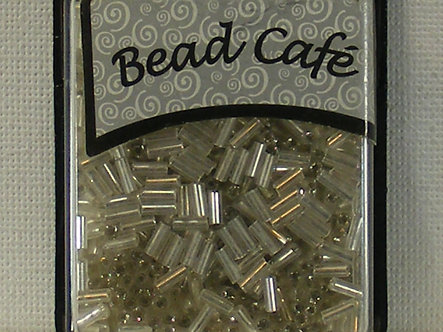 Bead Cafe - Silver 6mm Glass Bugle Beads.