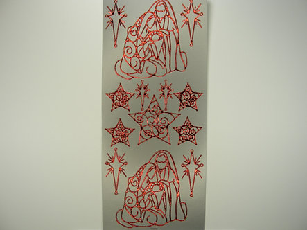 Docrafts - Christmas Peel Offs Nativity & Stars (Red & Silver)