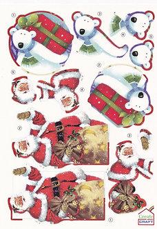 Create & Craft - A4 Christmas Decoupage Sheet Santa