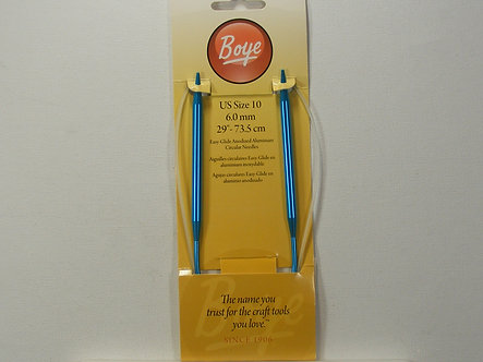 "Boye Circular Aluminum Knitting Needles 29""-Size 10/6mm."