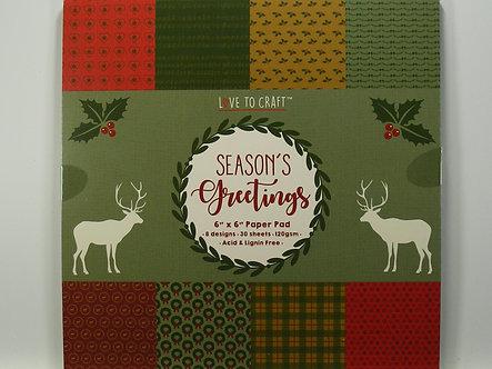 "Love To Craft - Seasons Greetings 6"" x 6"" Paper Pad"
