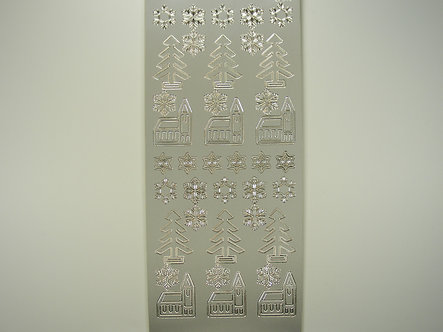 Christmas Peel Offs - Simple Christmas Icons (Silver)