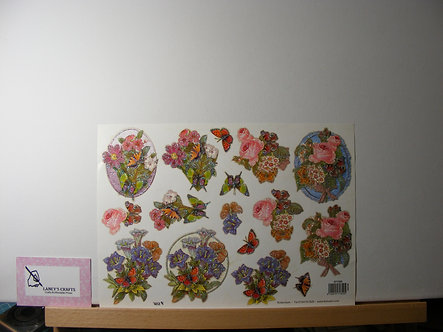 TBZ International - Floral Glitter Frames Decoupage Sheet.