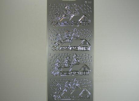 Christmas Peel Offs - Snowy House Scene (Silver)