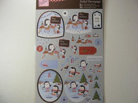 Anita's - Christmas Foiled Decoupage - Penguin Fun.