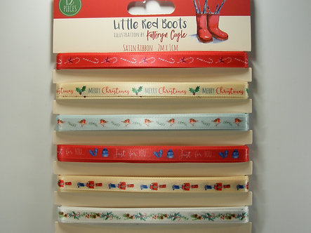 Little Red Boots - Satin Christmas Ribbon