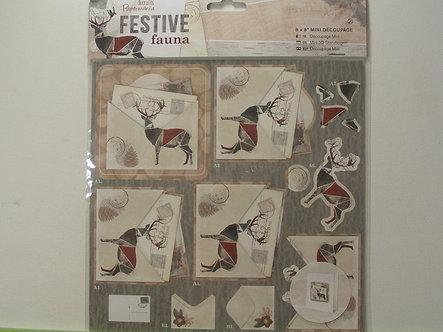 Docrafts - Festive Fauna 8x8 Mini Decoupage - Postcard.